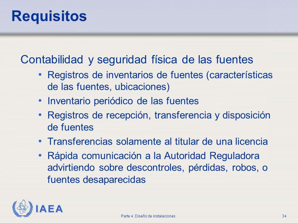 IAEA Parte 4. Diseño de instalaciones34 Requisitos Contabilidad y seguridad física de las fuentes Registros de inventarios de fuentes (características