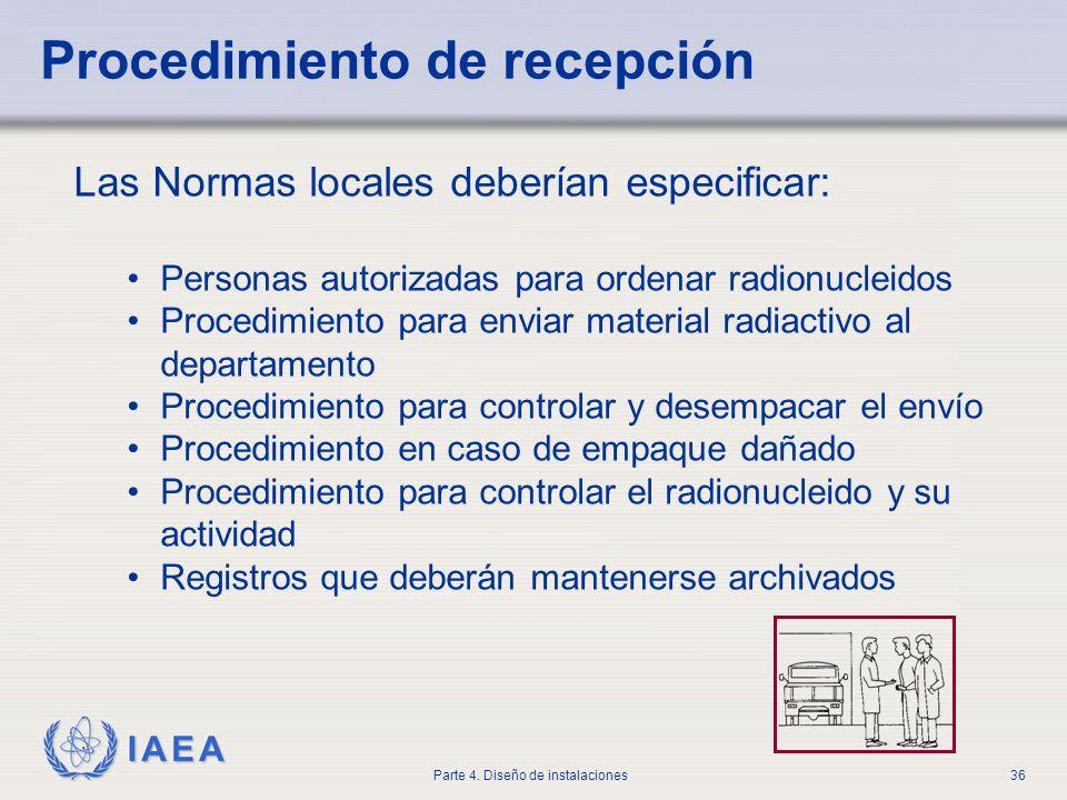 IAEA Parte 4. Diseño de instalaciones36 Las Normas locales deberían especificar: Personas autorizadas para ordenar radionucleidos Procedimiento para e
