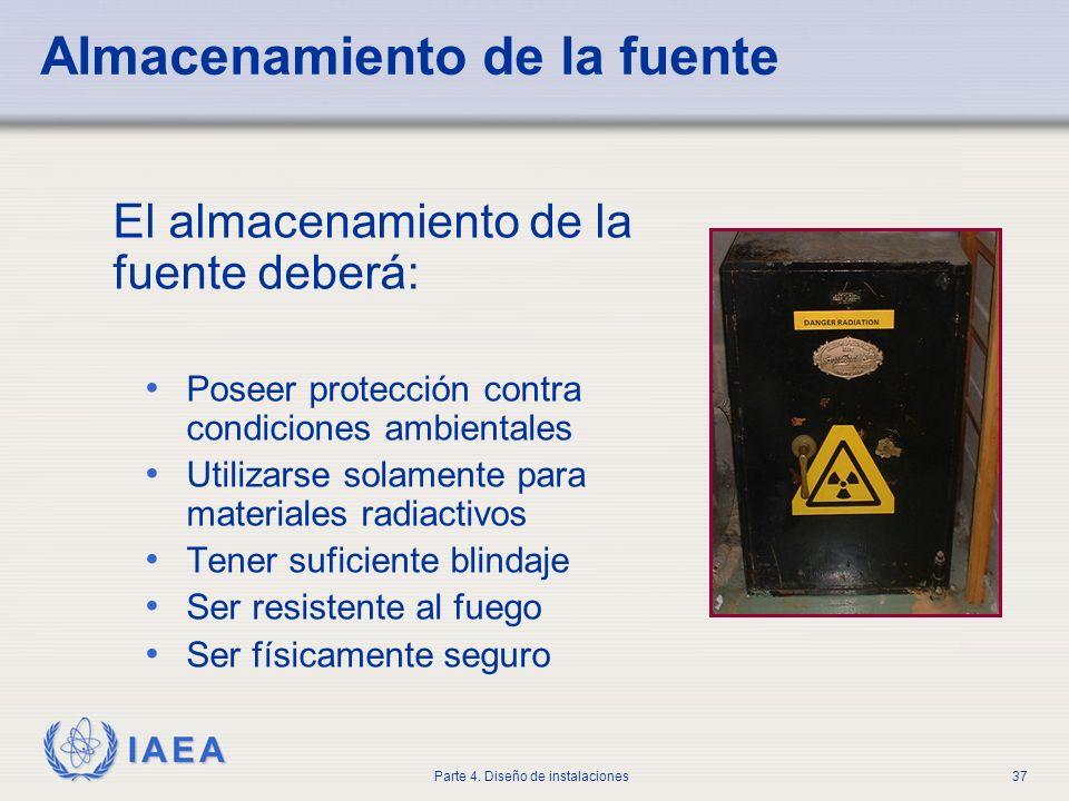IAEA Parte 4. Diseño de instalaciones37 Almacenamiento de la fuente El almacenamiento de la fuente deberá: Poseer protección contra condiciones ambien
