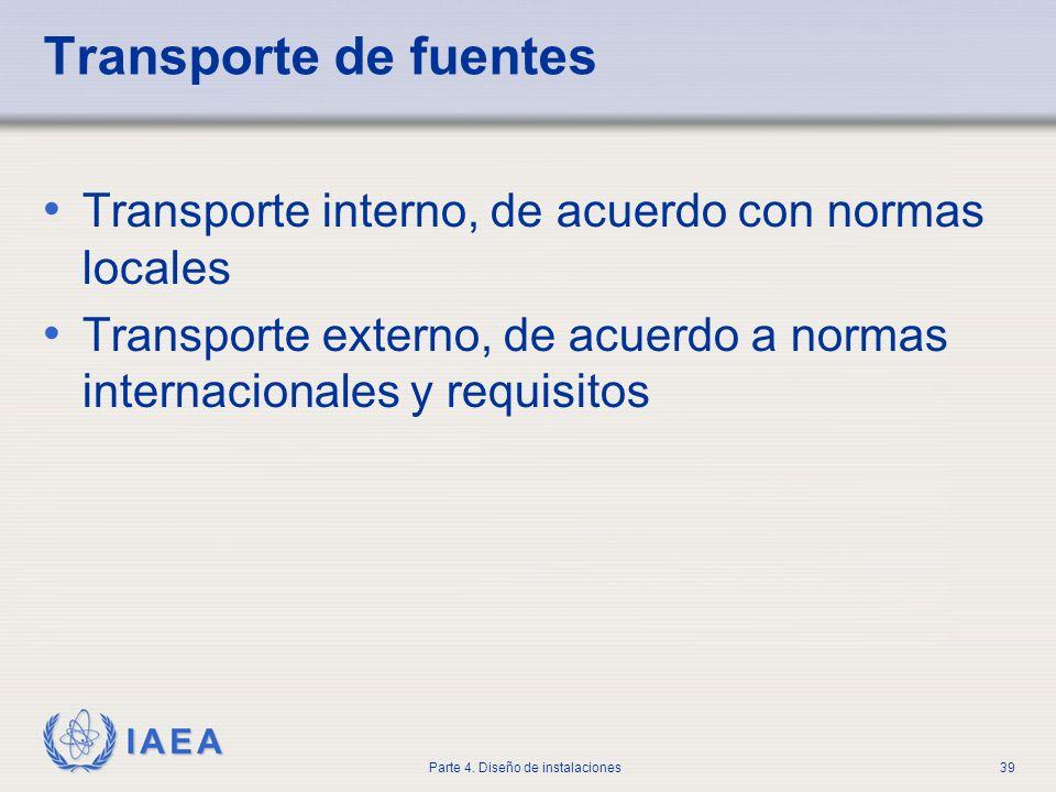 IAEA Parte 4. Diseño de instalaciones39 Transporte de fuentes Transporte interno, de acuerdo con normas locales Transporte externo, de acuerdo a norma