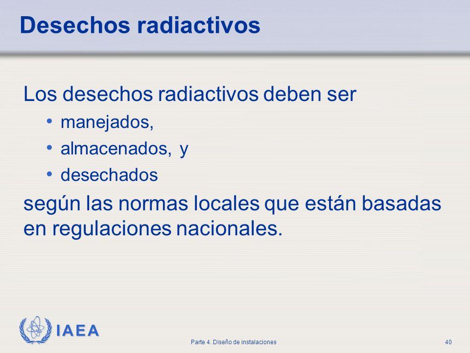 IAEA Parte 4. Diseño de instalaciones40 Desechos radiactivos Los desechos radiactivos deben ser manejados, almacenados, y desechados según las normas