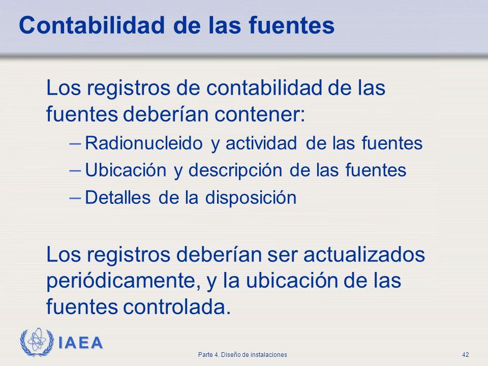 IAEA Parte 4. Diseño de instalaciones42 Contabilidad de las fuentes Los registros de contabilidad de las fuentes deberían contener: – Radionucleido y