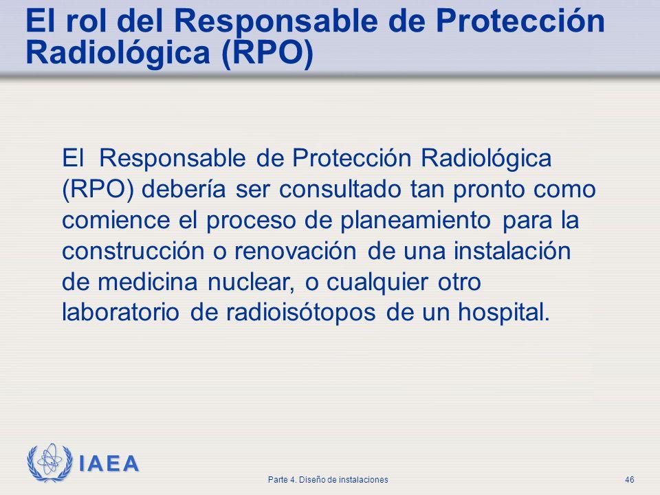 IAEA Parte 4. Diseño de instalaciones46 El Responsable de Protección Radiológica (RPO) debería ser consultado tan pronto como comience el proceso de p