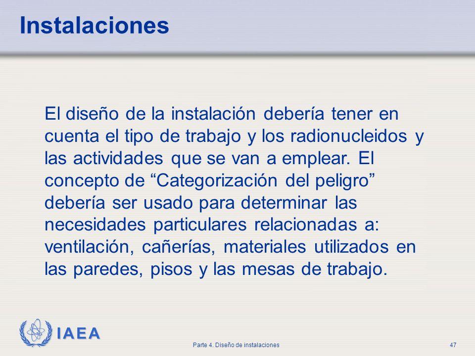 IAEA Parte 4. Diseño de instalaciones47 El diseño de la instalación debería tener en cuenta el tipo de trabajo y los radionucleidos y las actividades