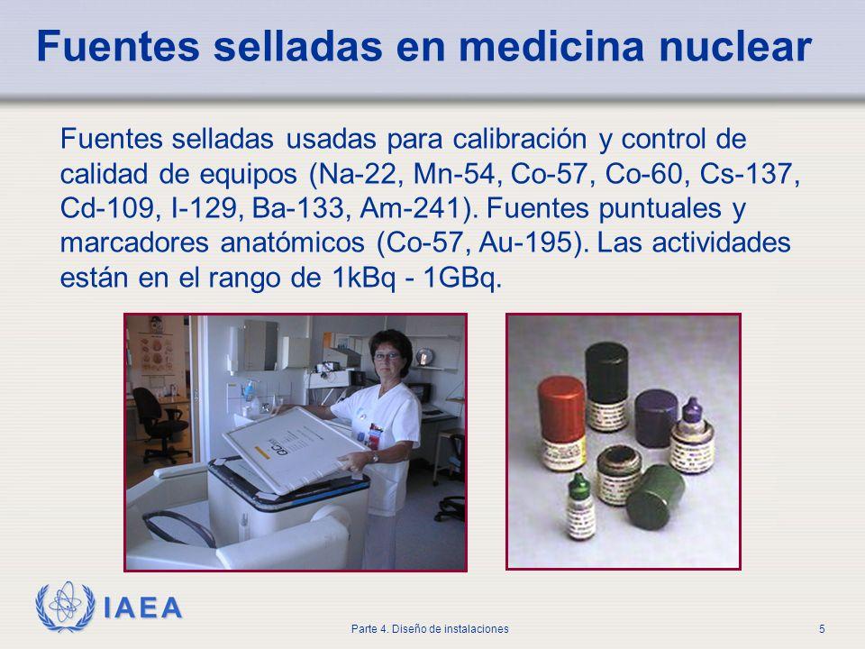 IAEA Parte 4. Diseño de instalaciones5 Fuentes selladas en medicina nuclear Fuentes selladas usadas para calibración y control de calidad de equipos (
