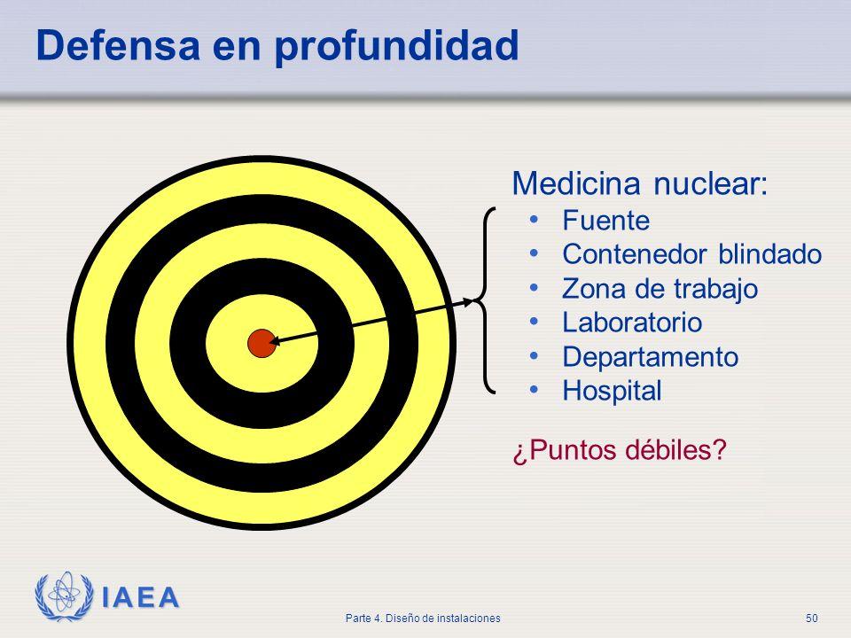 IAEA Parte 4. Diseño de instalaciones50 Defensa en profundidad Medicina nuclear: Fuente Contenedor blindado Zona de trabajo Laboratorio Departamento H