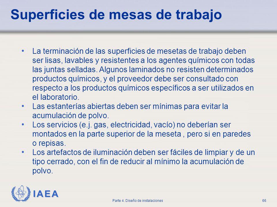 IAEA Parte 4. Diseño de instalaciones66 Superficies de mesas de trabajo La terminación de las superficies de mesetas de trabajo deben ser lisas, lavab