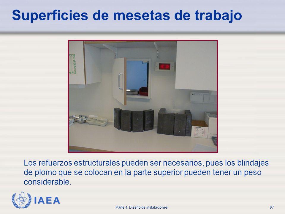 IAEA Parte 4. Diseño de instalaciones67 Superficies de mesetas de trabajo Los refuerzos estructurales pueden ser necesarios, pues los blindajes de plo