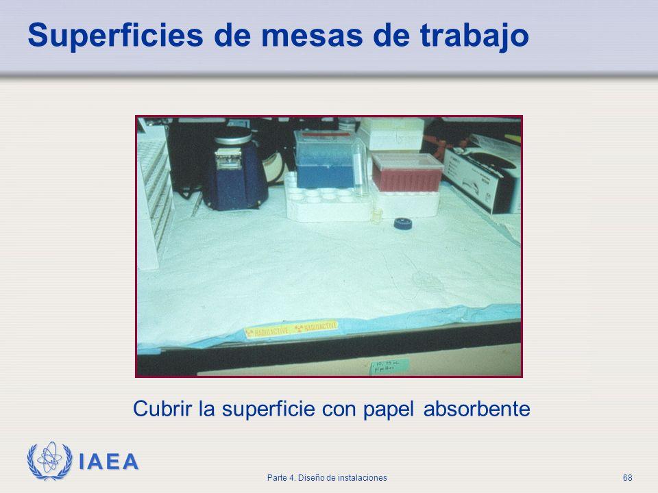 IAEA Parte 4. Diseño de instalaciones68 Superficies de mesas de trabajo Cubrir la superficie con papel absorbente
