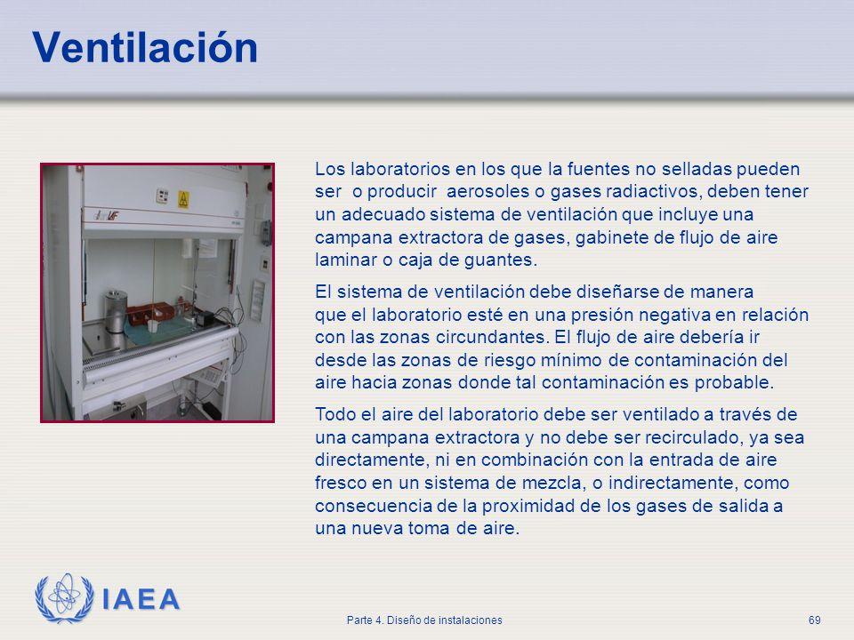 IAEA Parte 4. Diseño de instalaciones69 Ventilación Los laboratorios en los que la fuentes no selladas pueden ser o producir aerosoles o gases radiact