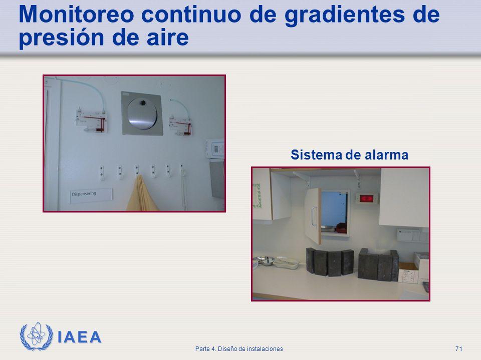IAEA Parte 4. Diseño de instalaciones71 Sistema de alarma Monitoreo continuo de gradientes de presión de aire