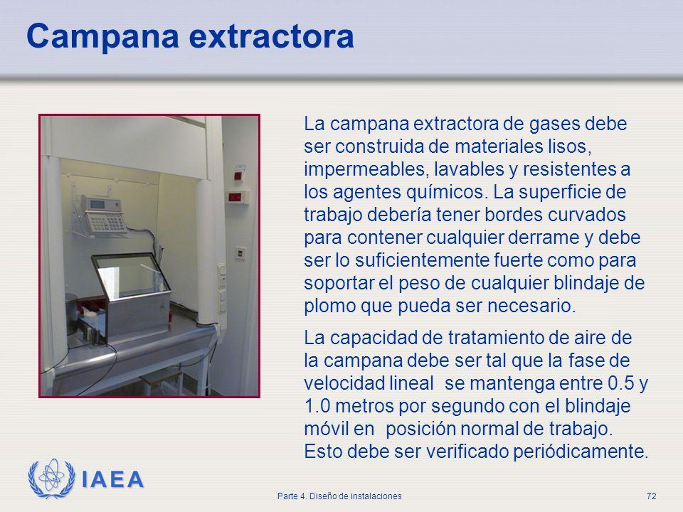 IAEA Parte 4. Diseño de instalaciones72 Campana extractora La campana extractora de gases debe ser construida de materiales lisos, impermeables, lavab