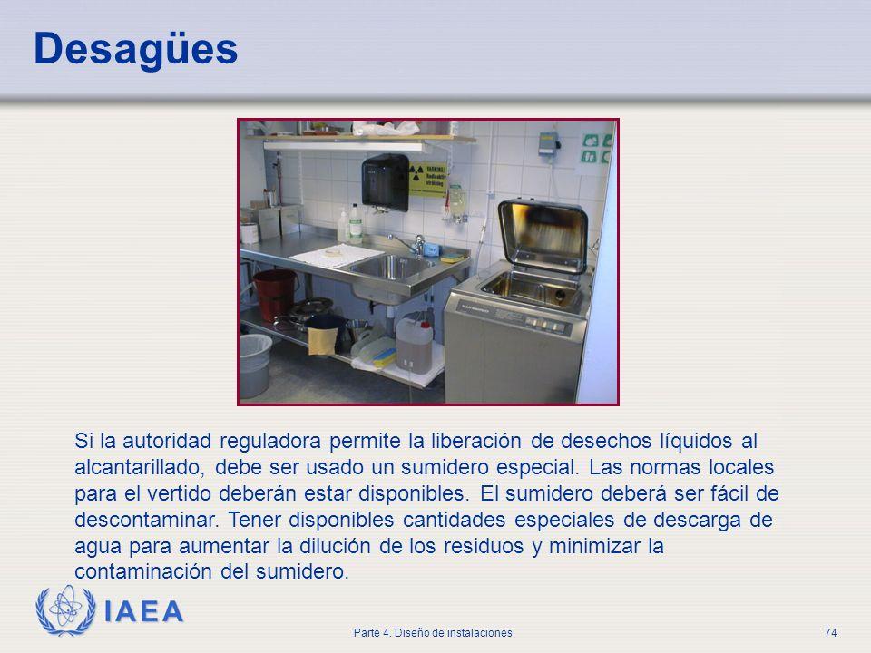 IAEA Parte 4. Diseño de instalaciones74 Desagües Si la autoridad reguladora permite la liberación de desechos líquidos al alcantarillado, debe ser usa