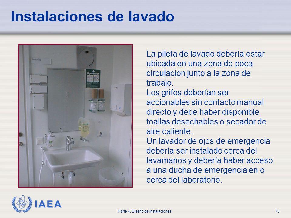 IAEA Parte 4. Diseño de instalaciones75 Instalaciones de lavado La pileta de lavado debería estar ubicada en una zona de poca circulación junto a la z