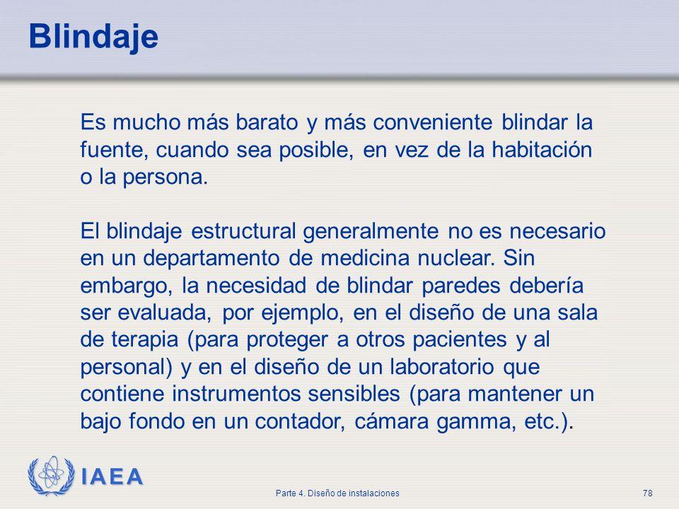 IAEA Parte 4. Diseño de instalaciones78 Blindaje Es mucho más barato y más conveniente blindar la fuente, cuando sea posible, en vez de la habitación