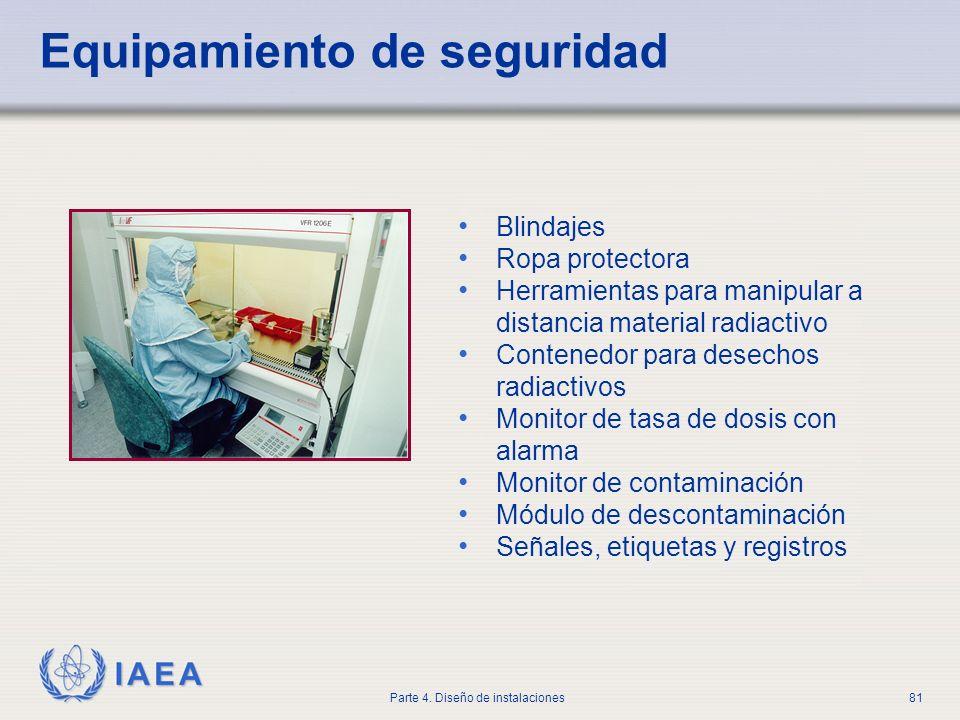 IAEA Parte 4. Diseño de instalaciones81 Equipamiento de seguridad Blindajes Ropa protectora Herramientas para manipular a distancia material radiactiv