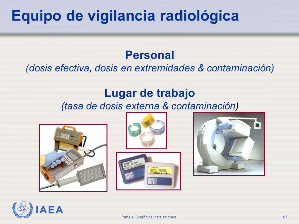 IAEA Parte 4. Diseño de instalaciones85 Personal (dosis efectiva, dosis en extremidades & contaminación) Lugar de trabajo (tasa de dosis externa & con