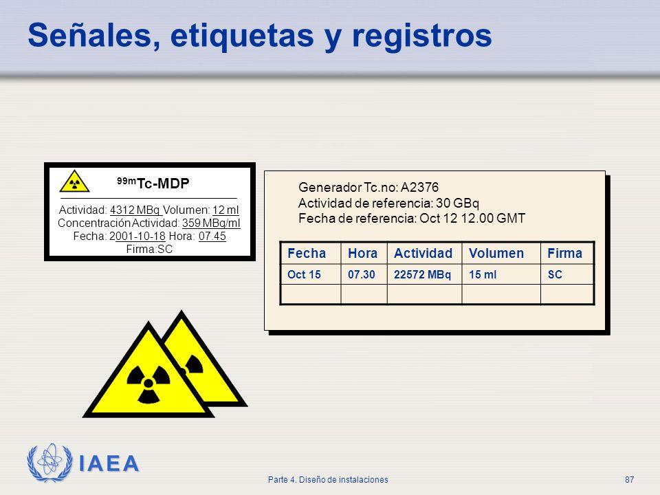 IAEA Parte 4. Diseño de instalaciones87 Señales, etiquetas y registros Actividad: 4312 MBq Volumen: 12 ml Concentración Actividad: 359 MBq/ml Fecha: 2