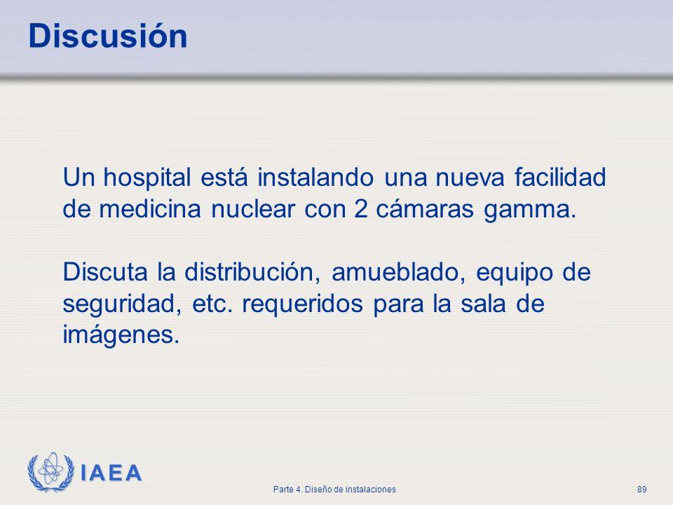 IAEA Parte 4. Diseño de instalaciones89 Discusión Un hospital está instalando una nueva facilidad de medicina nuclear con 2 cámaras gamma. Discuta la