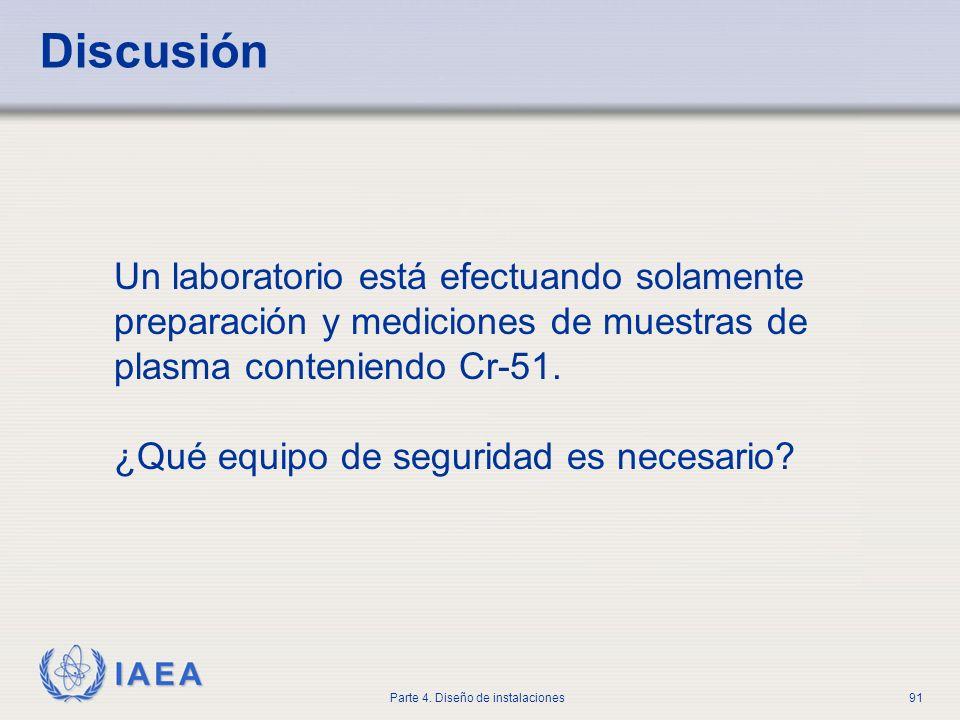 IAEA Parte 4. Diseño de instalaciones91 Discusión Un laboratorio está efectuando solamente preparación y mediciones de muestras de plasma conteniendo