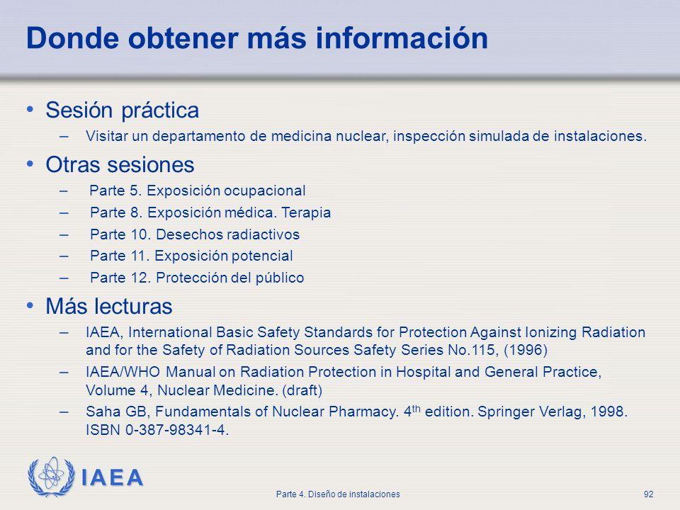 IAEA Parte 4. Diseño de instalaciones92 Donde obtener más información Sesión práctica – Visitar un departamento de medicina nuclear, inspección simula