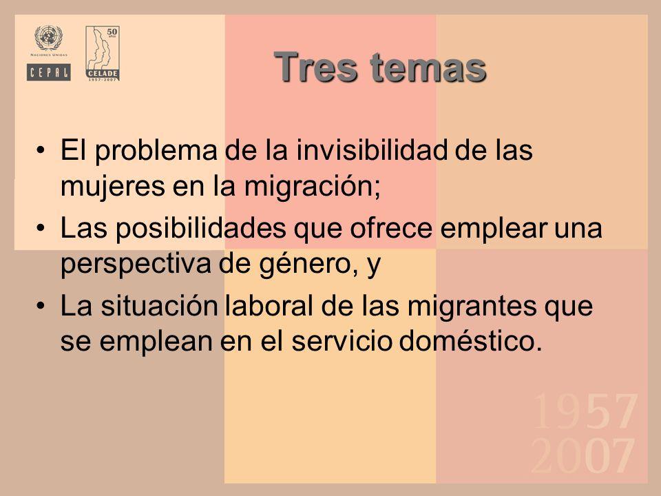 La lucha contra la invisibilidad de las mujeres en la migración Persiste la invisibilidad de las mujeres migrantes, pues su desprotección suele ser más marcada que la de los hombres.