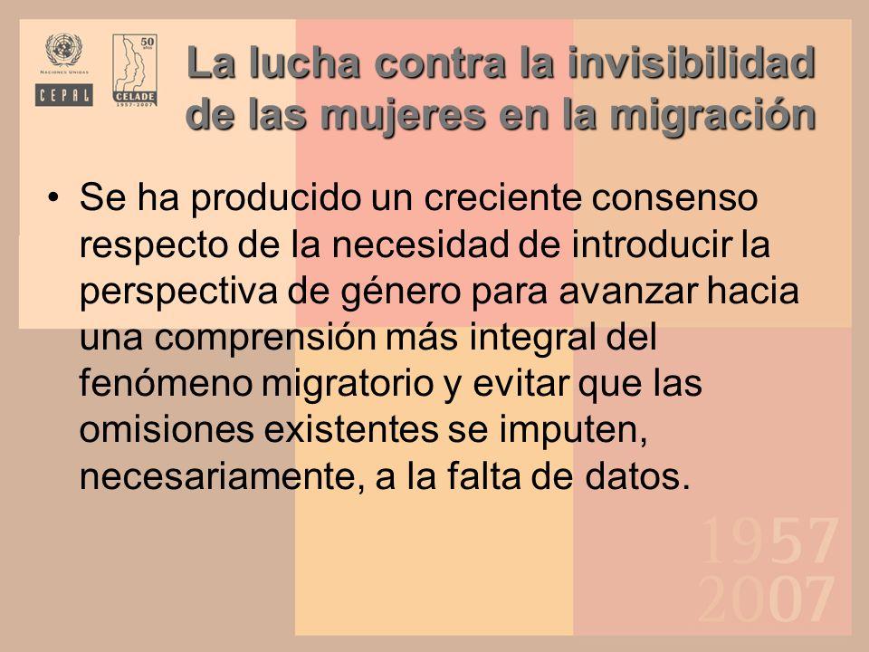 El género en la migración internacional Las diferencias de género están cada vez más reconocidas y hoy figuran entre las características distintivas de la migración internacional.