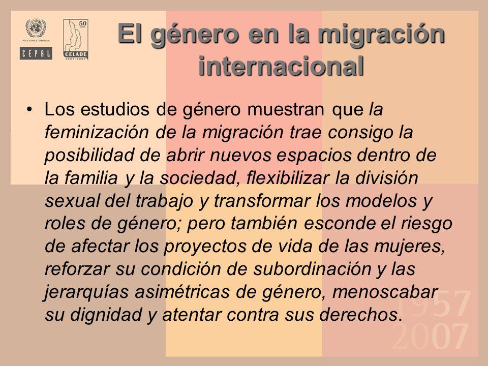El género en la migración internacional Debe diferenciarse lo que son percepciones positivas de la experiencia migratoria individual con las consecuencias colectivas de reproducción de las asimetrías de género.