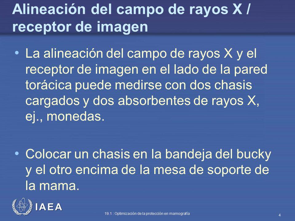 IAEA 19.1 : Optimización de la protección en mamografía 4 Alineación del campo de rayos X / receptor de imagen La alineación del campo de rayos X y el