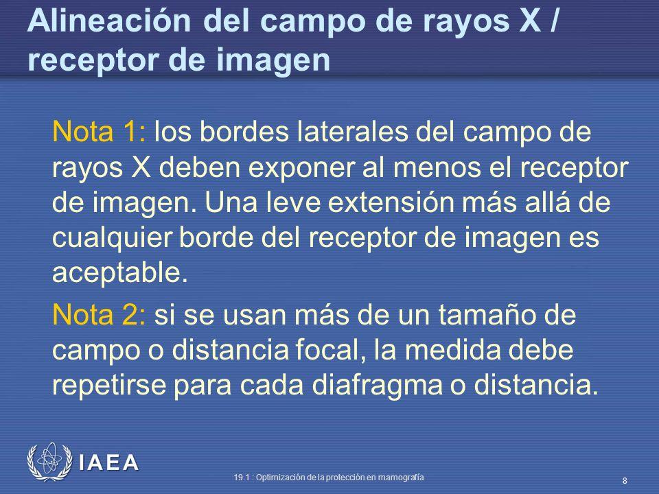 IAEA 19.1 : Optimización de la protección en mamografía 8 Alineación del campo de rayos X / receptor de imagen Nota 1: los bordes laterales del campo