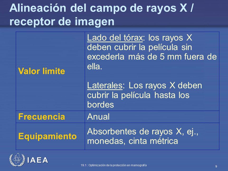 IAEA 19.1 : Optimización de la protección en mamografía 9 Alineación del campo de rayos X / receptor de imagen Valor limite Lado del tórax: los rayos