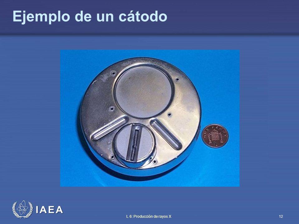 IAEA L 6: Producción de rayos X13 Los tubos modernos tienen dos filamentos – Uno largo: mayor corriente/menor resolución – Uno corto: menor corriente/mayor resolución La interacción coulombiana hace divergente el haz de electrones en su camino hacia el ánodo – Falta de electrones que produzcan rayos X – Mayor área de impacto en el blanco – Incremento de la mancha focal peor resolución de la imagen Estructura del cátodo (II) ¡La focalización de los electrones es crucial!