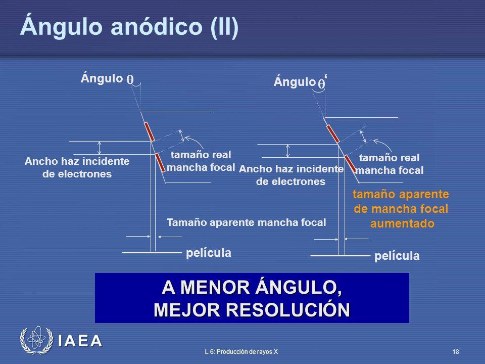 IAEA L 6: Producción de rayos X19 Efecto anódico (efecto tacón) (I) El ángulo anódico (de 7° a 20°) induce una variación de la salida de rayos X en el plano que contiene el eje ánodo-cátodo Absorción en el ánodo de los fotones X con bajo ángulo de emisión La importancia de la influencia del efecto tacón (anódico) en la imagen depende de factores tales como: – Ángulo anódico – Tamaño de la película – Distancia foco-película El envejecimiento del ánodo aumenta el efecto tacón