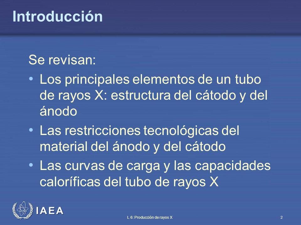 IAEA L 6: Producción de rayos X3 Temas Elementos básicos de una unidad de rayos X Estructura del cátodo Estructura del ánodo Curvas de carga Generador de rayos X Control automático de exposición