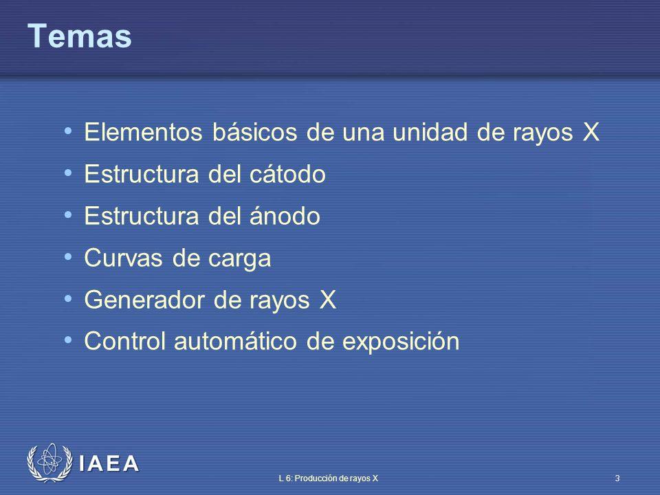 IAEA L 6: Producción de rayos X4 Objetivo Familiarizarse con los principios tecnológicos de la producción de rayos X
