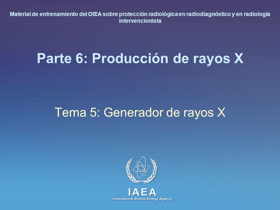 IAEA L 6: Producción de rayos X31 Generador de rayos X (I) Suministra al tubo de rayos X: corriente para calentar el filamento del cátodo potencial para acelerar los electrones control de exposición automática (tiempo de aplicación de potencia) suministro de energía 1000 energía del haz de rayos X (de la cual, el 99.9% se disipa como energía térmica)