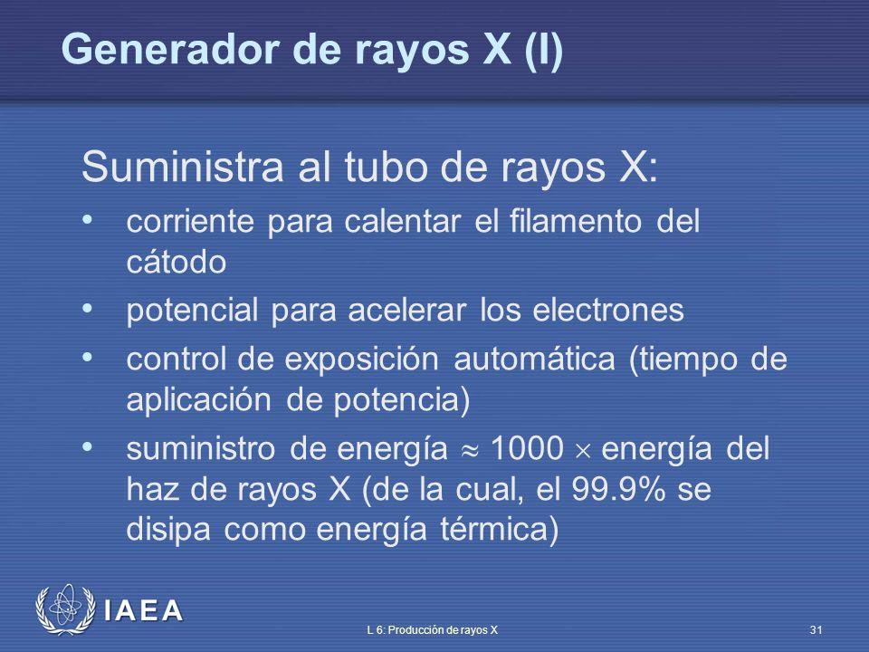 IAEA L 6: Producción de rayos X32 Las características del generador tienen una gran influencia en el contraste y la agudeza de la imagen radiográfica La pérdida de agudeza por movimiento puede reducirse mucho con un generador que permita un tiempo de exposición tan corto como sea factible Dado que la dosis en el plano de la imagen puede expresarse como: D = k 0 U n I T – U: voltaje de pico (kV) – I: corriente media (mA) – T: tiempo de exposición (ms) – n: variable desde alrededor de 1.5 hasta 3 Generador de rayos X (II)