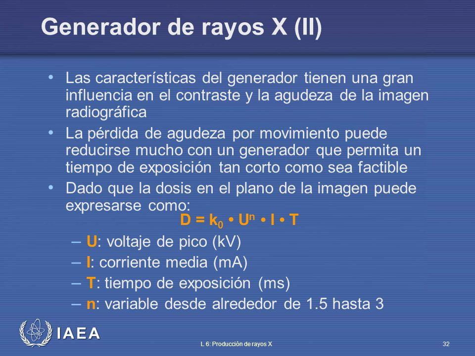 IAEA L 6: Producción de rayos X33 El valor del voltaje de pico tiene influencia en la dureza del haz Tiene que relacionarse con la cuestión médica – ¿cuál es la estructura anatómica a investigar.