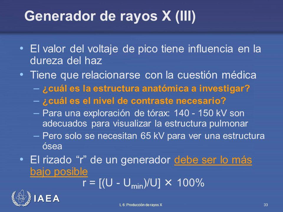 IAEA L 6: Producción de rayos X34 Forma de onda de la alta tensión (I) Generadores convencionales – Monofásico de 1 pulso (dentales y algunos sistemas móviles) – Monofásicos de 2 pulsos (rectificados en onda completa) – Trifásicos de 6 pulsos – Trifásicos de 12 pulsos Generadores de potencial constante (CP) Generadores de alta frecuencia (HF).