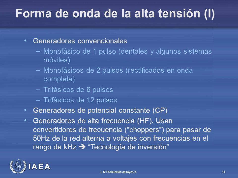 IAEA L 6: Producción de rayos X35 100% 13% 4% Tensión de alimentación Monofásico media onda Monofásico onda completa Trifásico de 6 pulsos Trifásico de 12 pulsos 0.02 s 0.01 s Rizado del kV (%) Forma de onda de la alta tensión (II)