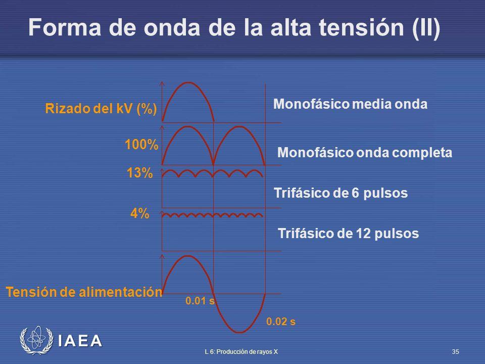 IAEA L 6: Producción de rayos X36 Elección del número de pulsos (I) Monofásico 1 pulso: baja potencia (<2 kW) Monofásico 2 pulsos: baja y media potencia 6 pulsos: usa alimentación trifásica, media y alta potencia (compensación automática o manual de caídas de tensión) 12 pulsos: usa dos sistemas trifásicos defasados, alta potencia hasta 150 kW