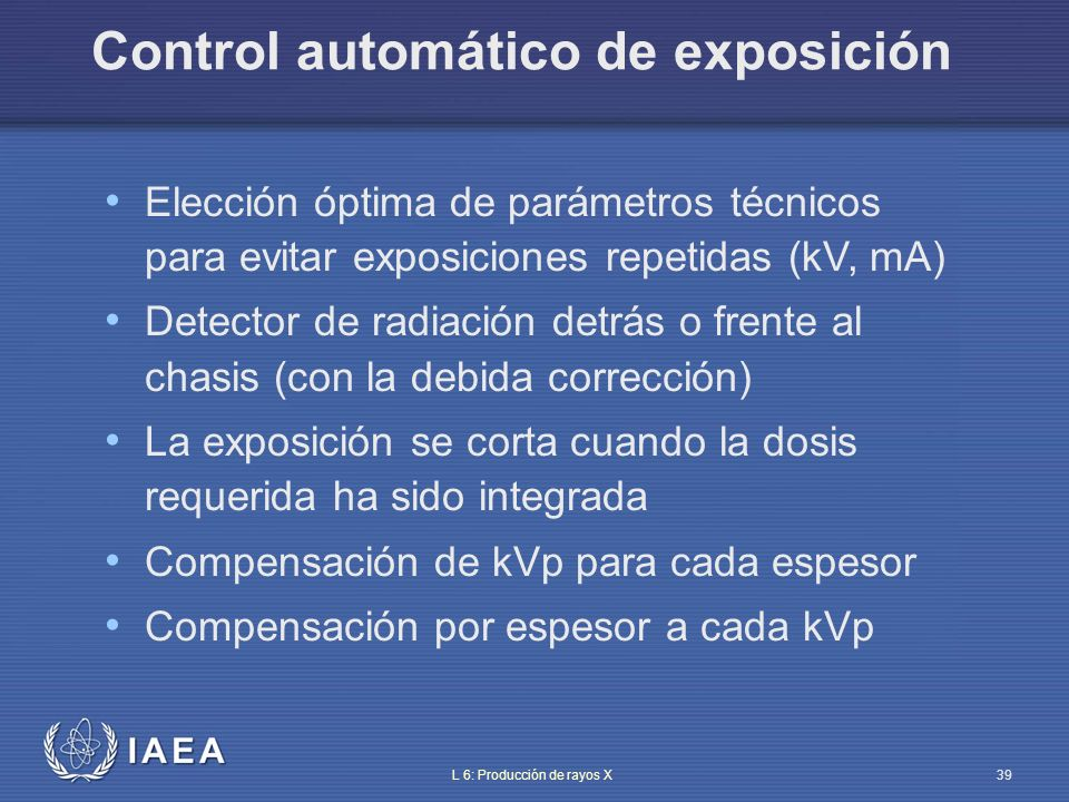 IAEA L 6: Producción de rayos X40 Control automático de exposición Tubo rayos X Colimador Haz Tejido blando Hueso Aire Paciente Mesa Reja Chasis Detectores del AEC