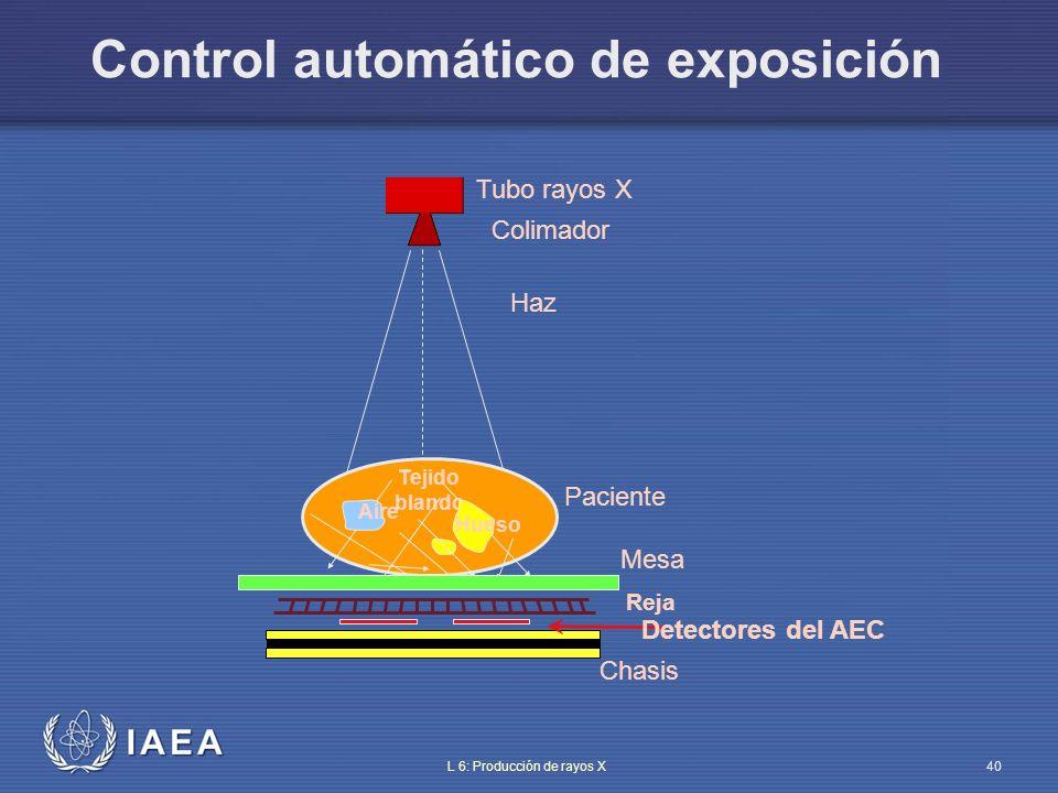 IAEA L 6: Producción de rayos X41 Control automático de exposición Elección óptima de parámetros técnicos para evitar exposiciones repetidas (kV, mA) Detector de radiación detrás o frente al chasis (con la debida corrección) La exposición se corta cuando la dosis requerida ha sido integrada Compensación de kVp para cada espesor Compensación por espesor a cada kVp