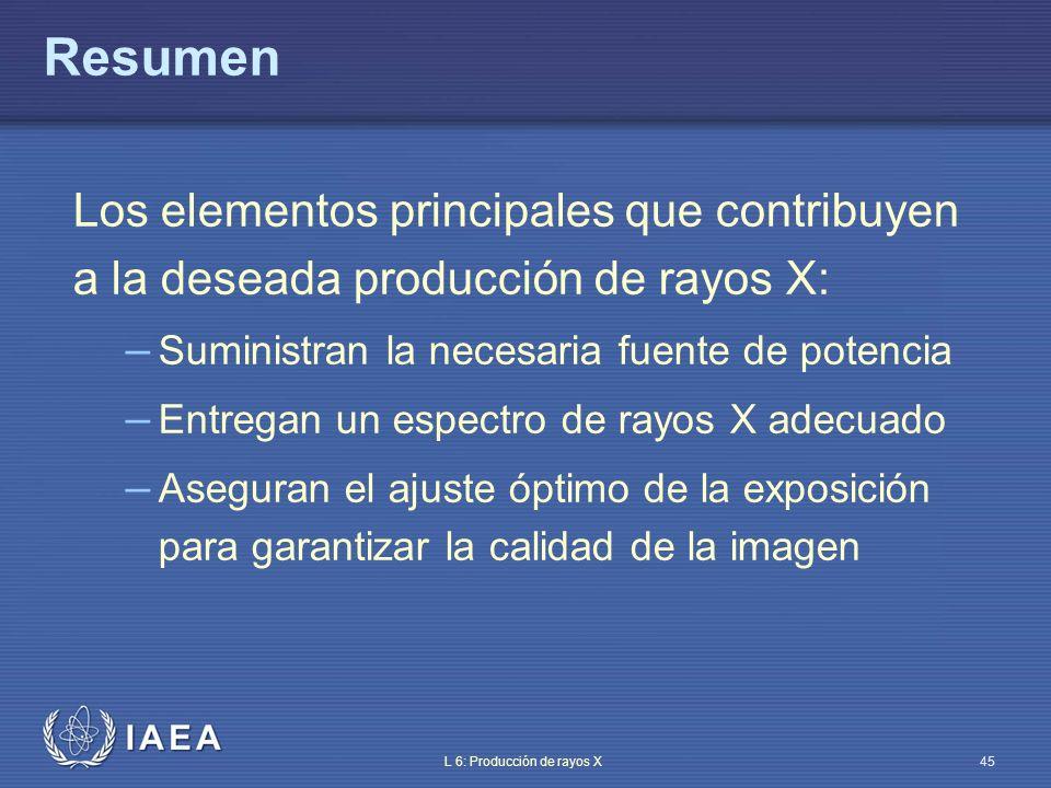IAEA L 6: Producción de rayos X46 Dónde conseguir más información Equipment for diagnostic radiology, E.