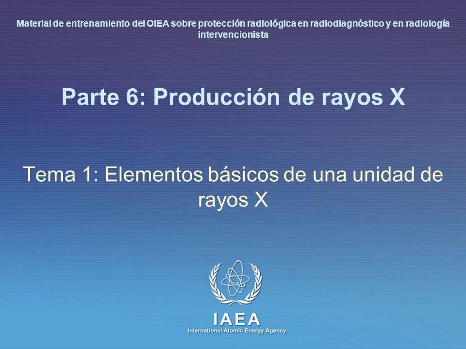 IAEA L 6: Producción de rayos X6 Elementos básicos de una unidad de rayos X Generador: circuito de potencia que suministra el potencial requerido al tubo de rayos X Tubo de rayos X y colimador: dispositivo que produce el haz de rayos X