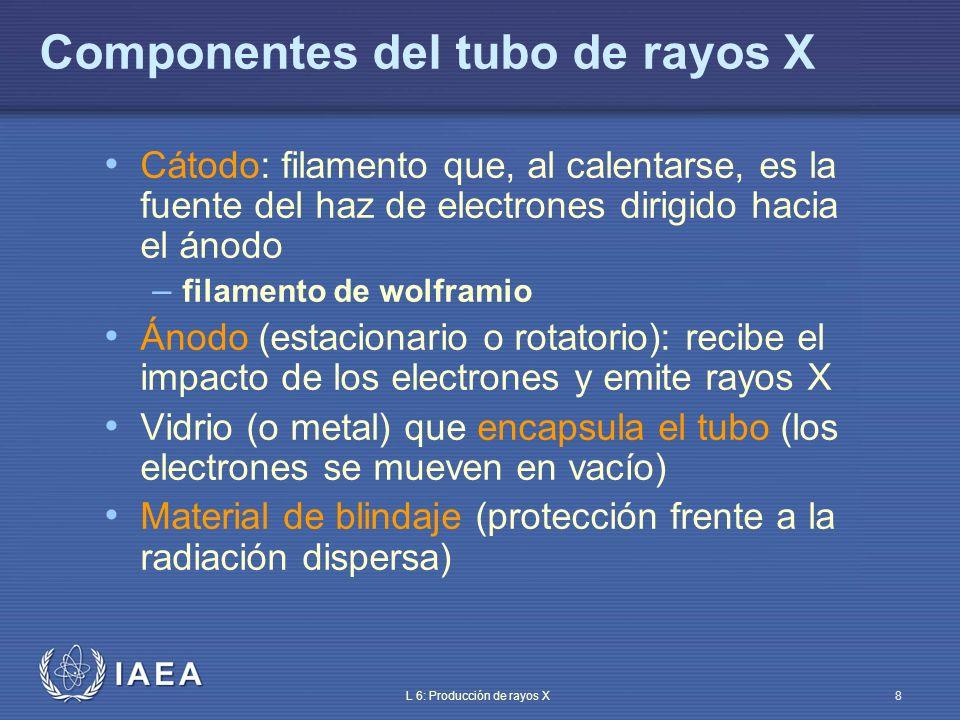IAEA L 6: Producción de rayos X9 Componentes del tubo de rayos X 1: filamento de wolframio largo 2: filamento de wolframio corto 3: cátodo de tamaño real 1:marca de la mancha focal encapsuladocátodo