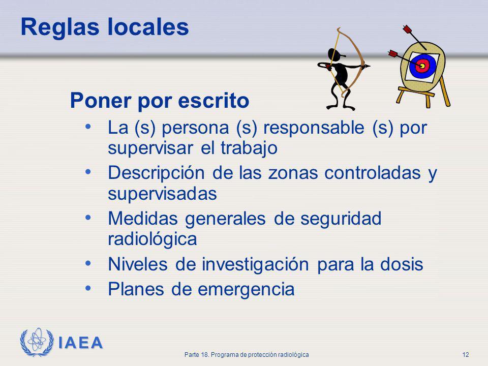 IAEA Parte 18. Programa de protección radiológica12 Reglas locales Poner por escrito La (s) persona (s) responsable (s) por supervisar el trabajo Desc