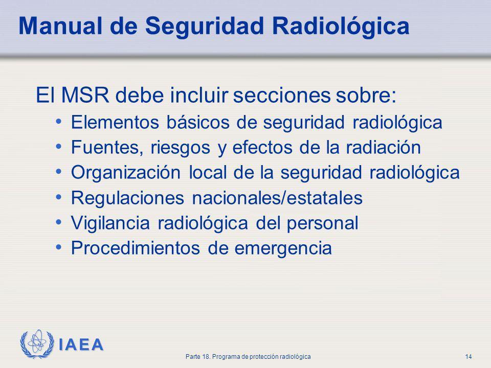 IAEA Parte 18. Programa de protección radiológica14 Manual de Seguridad Radiológica El MSR debe incluir secciones sobre: Elementos básicos de segurida