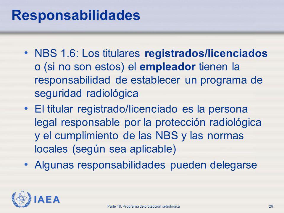 IAEA Parte 18. Programa de protección radiológica20 Responsabilidades NBS 1.6: Los titulares registrados/licenciados o (si no son estos) el empleador