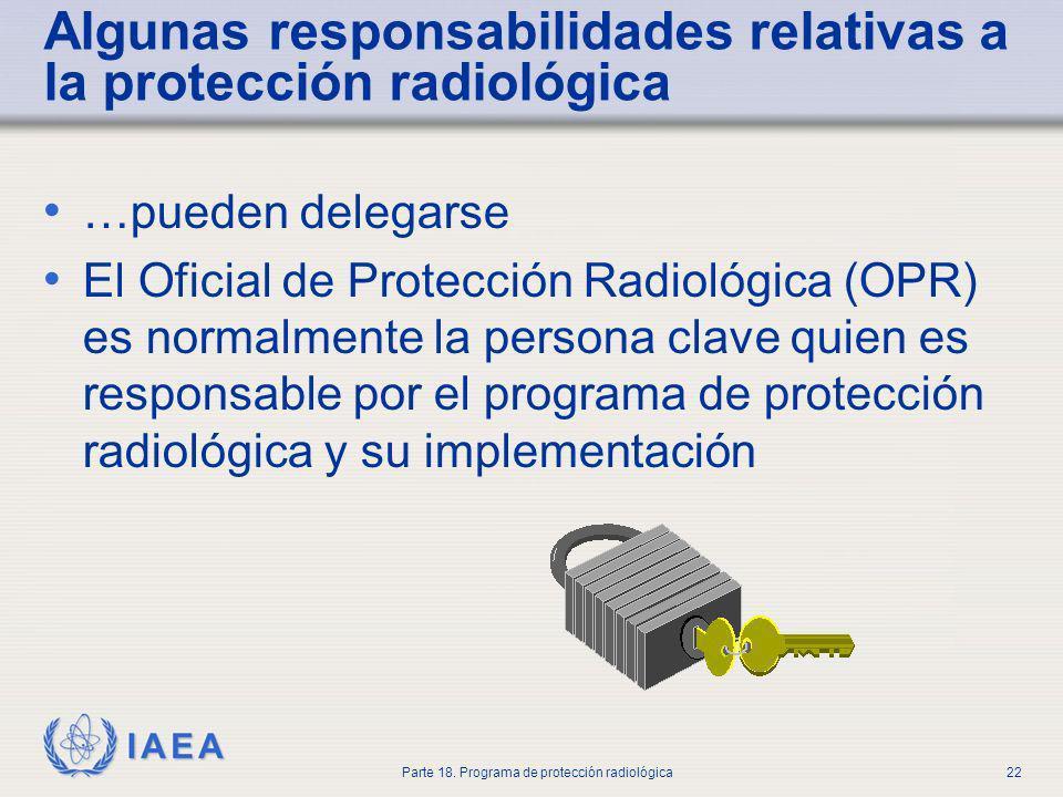 IAEA Parte 18. Programa de protección radiológica22 Algunas responsabilidades relativas a la protección radiológica …pueden delegarse El Oficial de Pr